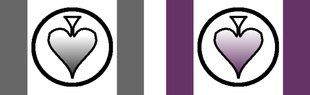 Two early flag proposals. The first has gray colored bars on the sides, and a circle in the middle containing an upside-down spade with a white-to-black gradient. The second is the same, but with purple instead of gray.