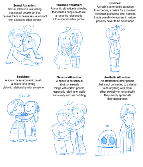 Comic depictions of six types of attraction: sexual attraction, romantic attraction, crushes, squishes, sensual attraction, and aesthetic attraction.