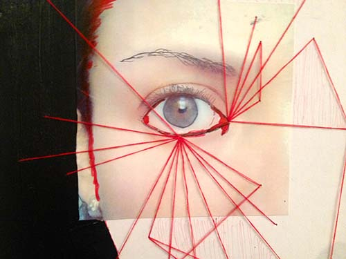 Art dipicting red string radiating from an eye